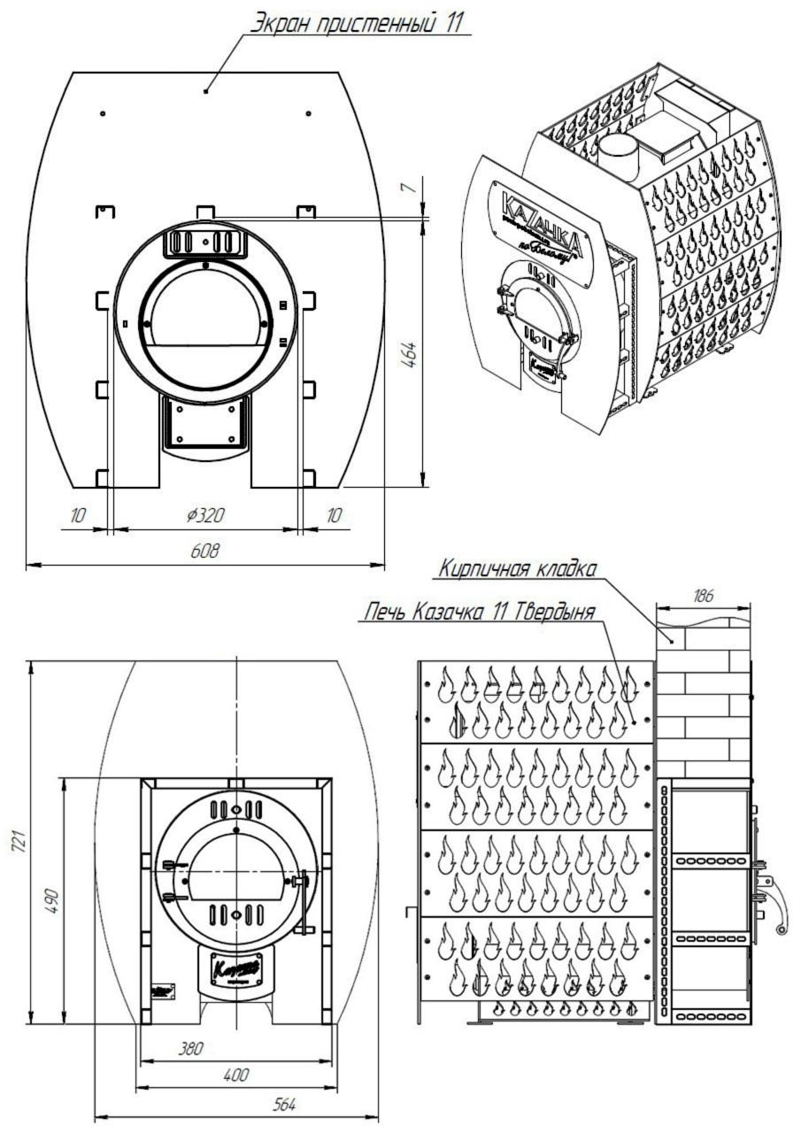 Размеры Проходной стеновой узел ПСУ-11Т