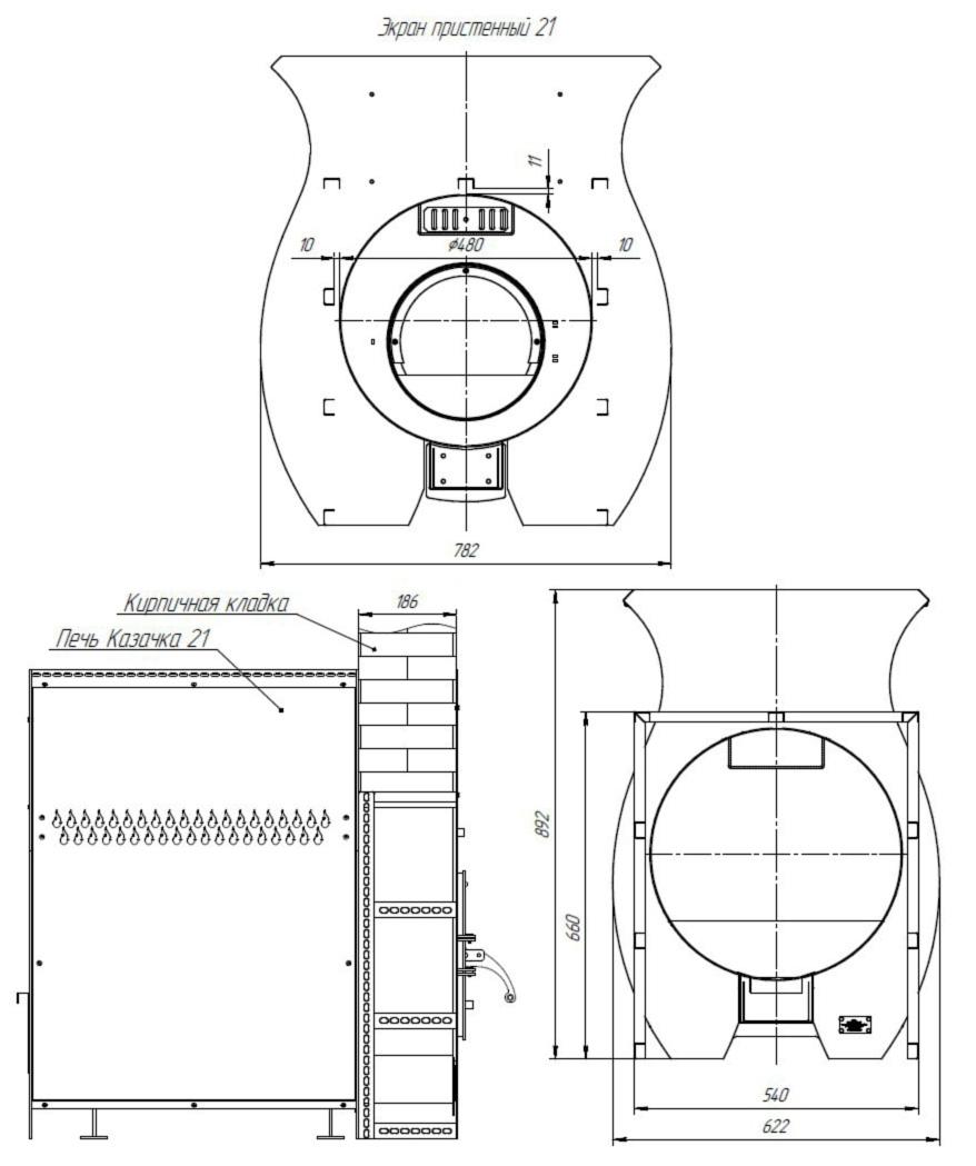 Размеры Проходной стеновой узел ПСУ-21К