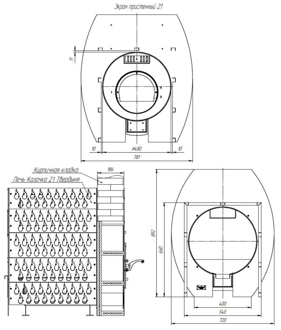 Размеры Проходной стеновой узел ПСУ-21Т